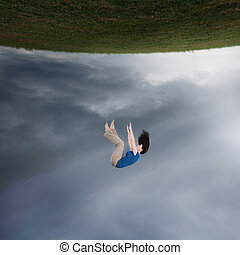 surreal, mujer, caer
