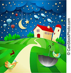 Surreal night with farm, umbrella and flying fishes. Vector illustration eps10