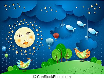 Surreal night with full moon, birds, balloons and flying fisches. Vector illustration eps10