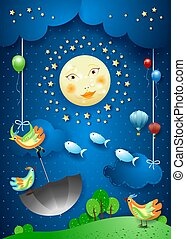 Surreal night with full moon, flying umbrella and fishes