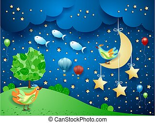 Surreal night with hanging moon, birds, balloons and flying fishes