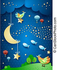 Surreal night with moon, wave of stars, birds, balloons and flying fishes. Vector illustration eps10