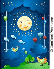 Surreal night with moonlight, birds, balloons and flying fishes. Vector illustration eps10