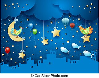 Surreal night with skyline, birds, balloons and flying fishes. Vector illustration eps10