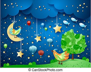 Surreal night with tree, birds, balloons and flying fishes. Vector illustration eps10
