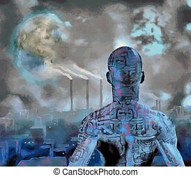 Droid - Surreal painting. Droid stands before futuristic...