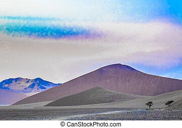 surreal, paisaje, en, el, desierto de namib, en, salida del sol
