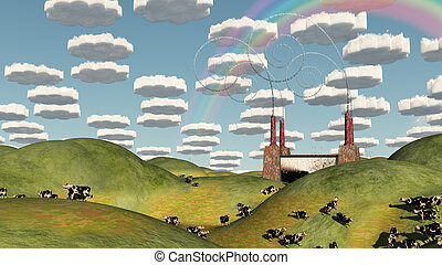 Surreal Pasture Factory Landscape