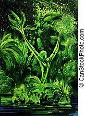surreal, pflanze, grün