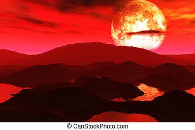 Surreal planet scene