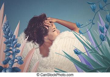 surreal, retrato, de, bonito, jovem, anjo, mulher, com, asas, em, fantasia, jardim