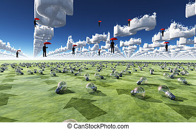 Surreal Scene with men floating in sky
