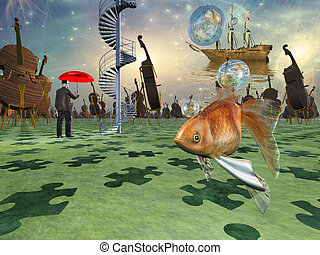 Surreal scene with various eelements
