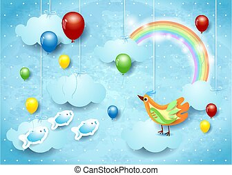 Surreal sky with balloons, flying fishes and bird. Vector illustration eps10