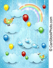 Surreal sky with balloons, flying fishes and birds. Vector illustration eps10