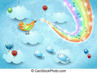 Surreal sky with bird, rainbow colors and musical notes