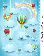 Surreal sky with hot air balloons, birds and flying fishes. Vector illustration eps10
