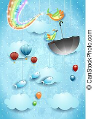Surreal sky with umbrella, music, birds and rainbow colors