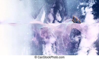 Surreal smoke and butterfly. Abstract moving background