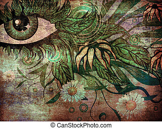 Surreal summer eye - Grunge surreal female eye with green...