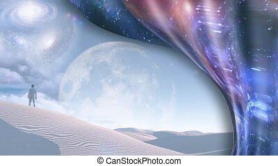 Surreal white desert. Galaxies and big moon at the horizon. ...