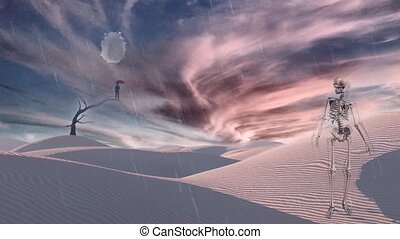 Surreal white desert. Man with red umbrella stands on a dry ...