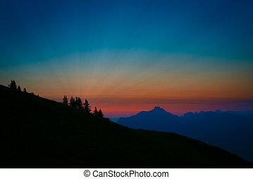 surreal, y, amanecer pintoresco, en, alpes austríacos
