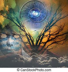 surreale, immagine, artisitc, spirale, tempo