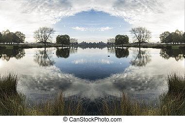 surreale, lago, paesaggio, campagna, bello, riflessioni