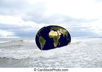 Surrealism. A conceptual image of the world in the sea