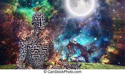 Burning figure of man with maze pattern in lotus pose. Vivid universe on background
