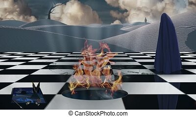 Surrealism. Chessboard with burning portal to another dimension. Lonely man in a distance. Figure of man covered by purple cloth. White sand dune