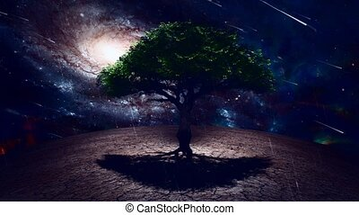 Green tree in arid land - Surrealism. Green tree in arid ...