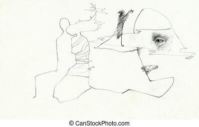 surrealistic imaginations - Hand made illustration, line...