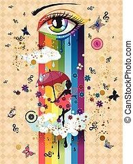 surrealistisch, elfje, kleurrijke