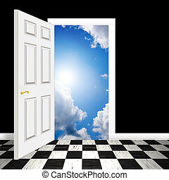 surrealistisch, hemels, deuropening