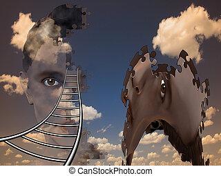 surrealistisch, samenstelling, menselijk