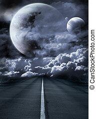 surrealistisch, straat, melkweg