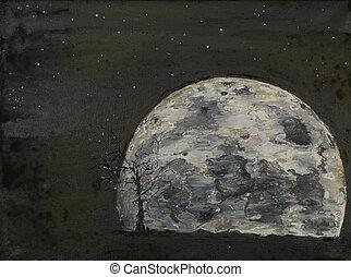 surrealistisch, volle maan, il, schilderij