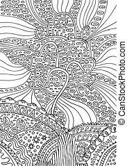 surrealistisk, illustration, life., regnbåge, vektor, adults., sida, kolorit, psuchedelic, fantasi, träd