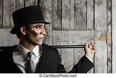surrealistyczny, cylinder, człowiek