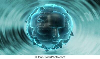 surrealistyczny, głowa, -, fale