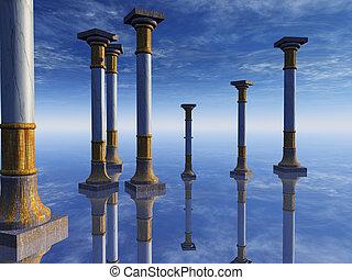 surrealistyczny, kolumny, horyzont