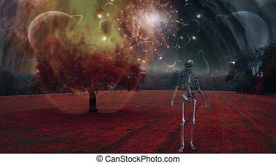 surrealistyczny, krajobraz, szkielet