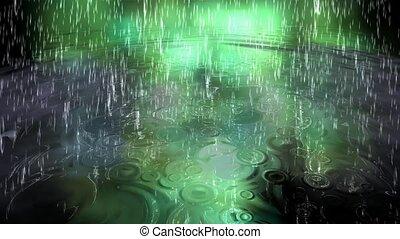 surrealistyczny, ożywienie, deszcz