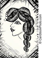 surrealistyczny, samica, portret