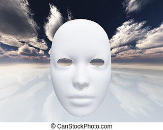 surrealistyczny, twarz, hovers, w, przedimek określony przed rzeczownikami, surrealistyczny, krajobraz
