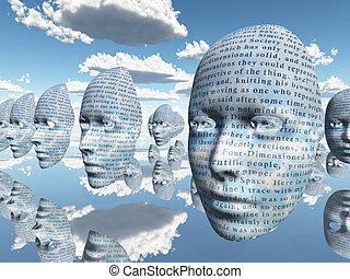 surrealistyczny, twarz, z, tekst