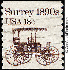 Surrey - USA - CIRCA 1981: A stamp printed in the USA shows...