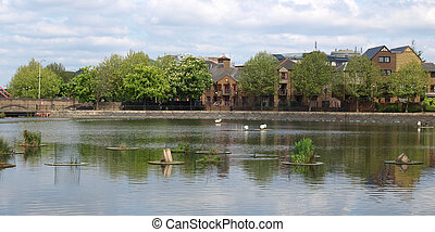 Surrey Water, London - Surrey Water docks in Docklands,...